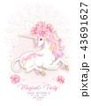 馬 ユニコーン ピンクのイラスト 43691627