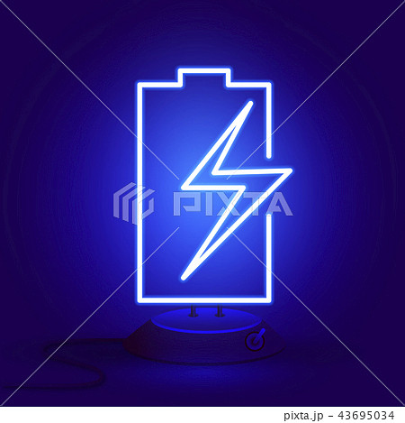 Neon battery with zipper on the stand glows 43695034