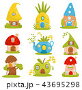 Cute small houses set, fairytale fantasy house for gnome, dwarf or elf vector Illustrations on a 43695298