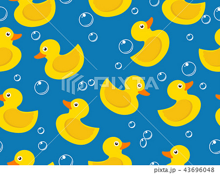 seamless pattern of yellow rubber duck  43696048
