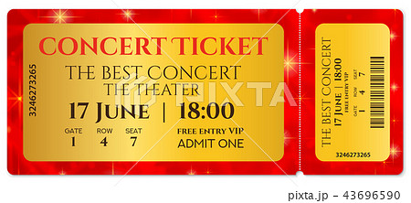 ticket template concert ticket with stars tear oのイラスト素材