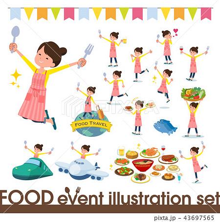 flat type Ballet Bun hair Apron mom_food festival 43697565