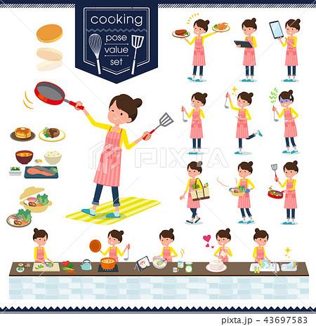 flat type Ballet Bun hair Apron mom_cooking 43697583