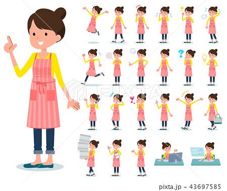 flat type Ballet Bun hair Apron mom_emotion 43697585