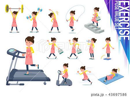 flat type Ballet Bun hair Apron mom_exercise 43697586