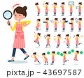 flat type Ballet Bun hair Apron mom_Action 43697587