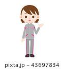 グレーとピンクのジャージを着た女性 案内 43697834