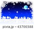 雪景色 サンタクロース トナカイのイラスト 43700388