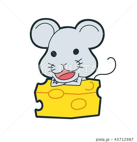 十二支のネズミのキャラクター。嬉しそうにチーズを食べている