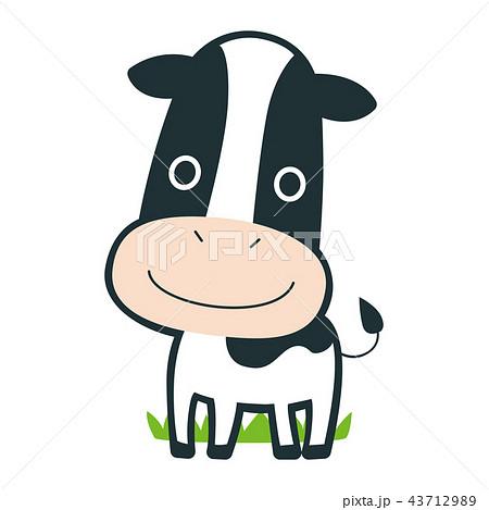 十二支の牛のキャラクター楽しそうに牧草地を歩いているイラストの