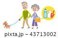 高齢者 犬 散歩 イラスト 43713002
