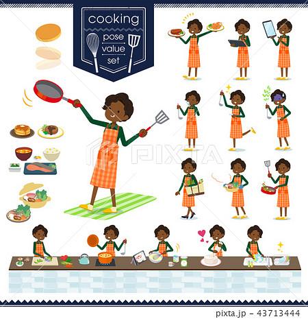 flat type business black women_cooking 43713444