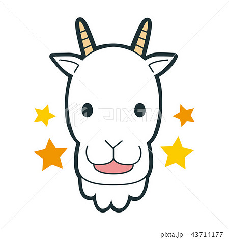 十二星座の山羊座のイラスト笑顔で楽しそうな山羊のキャラクターの