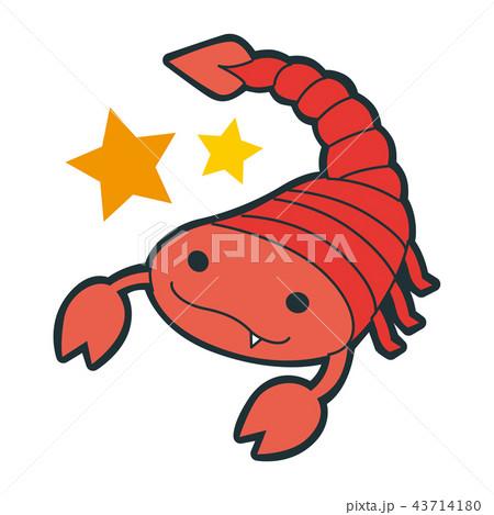 十二星座の蠍座のイラスト 笑顔の真っ赤な蠍のキャラクター のイラスト素材