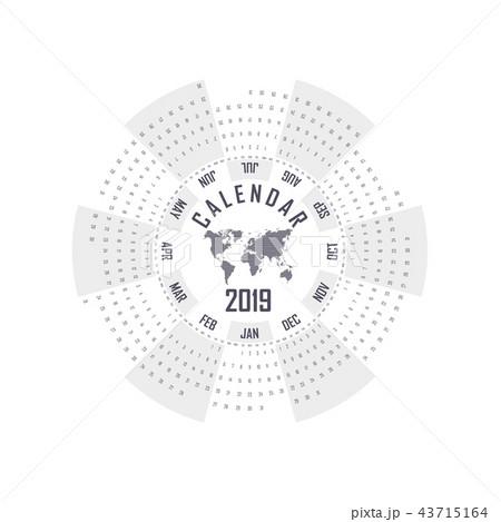 2019 calendar template circle calendar template のイラスト素材