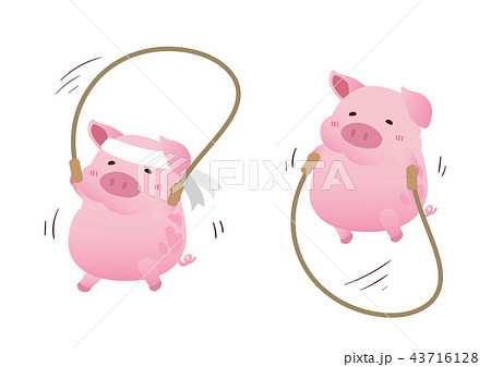 pink cute pig jumping the rope character design 43716128