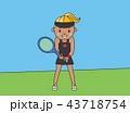 テニス ラケット 女の子のイラスト 43718754