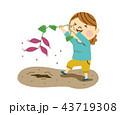 芋掘り 女性 畑のイラスト 43719308