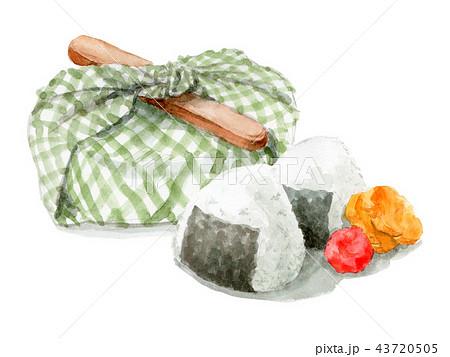 水彩で描いたお弁当包みとおにぎり 43720505