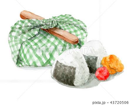水彩で描いたお弁当包みとおにぎり 43720506