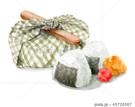 水彩で描いたお弁当包みとおにぎり 43720507