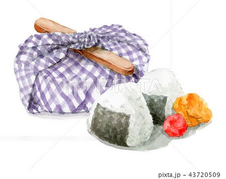 水彩で描いたお弁当包みとおにぎり 43720509