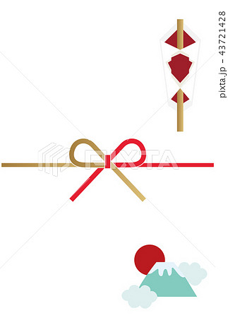 年賀状の背景素材。 縁起の良い背景素材。 新年のカード素材。 初春の挨拶。水引。 43721428