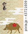 イノシシの年賀状。縁起の良いイラスト。亥年の年賀状。新春の素材。 43721609