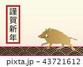 イノシシの年賀状。縁起の良いイラスト。亥年の年賀状。新春の素材。 43721612