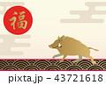 イノシシの年賀状。縁起の良いイラスト。亥年の年賀状。新春の素材。 43721618