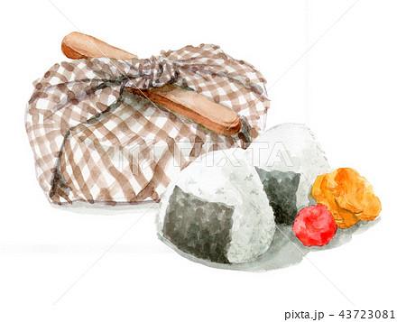 水彩で描いたお弁当包みとおにぎり 43723081