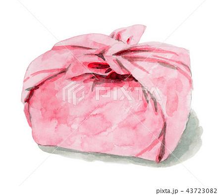 水彩で描いたお弁当包み 43723082