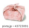 水彩で描いたお弁当包み 43723091