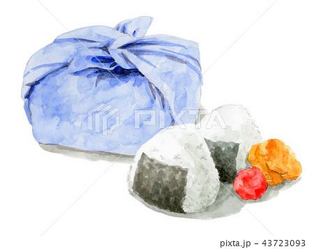 水彩で描いたお弁当包みとおにぎり 43723093