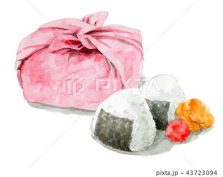 水彩で描いたお弁当包みとおにぎり 43723094