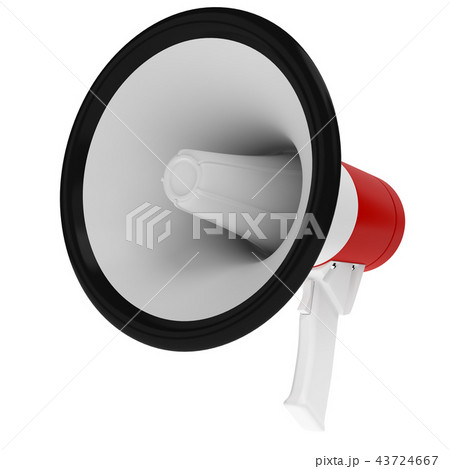 Red and White Megaphone on White Background 43724667