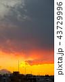 富士山もちらりと 夕焼け空 43729996