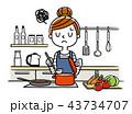 イラスト素材:主婦、料理 43734707