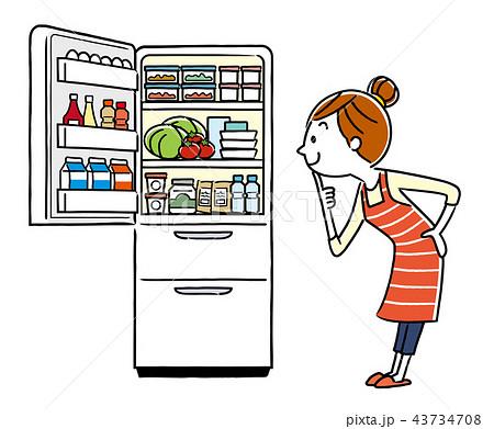 イラスト素材:主婦と冷蔵庫 43734708