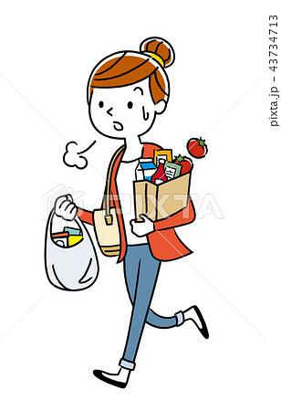 イラスト素材:買い物から帰る主婦 43734713