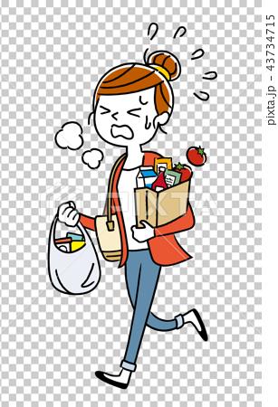插圖素材:家庭主婦從購物回來 43734715