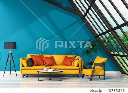 3D rendering of interior modern living room  43735846