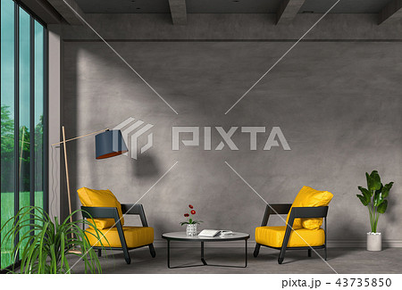 3D rendering of interior modern living room  43735850