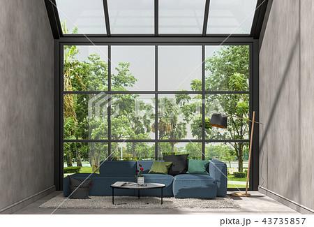 3D rendering of interior modern living room  43735857