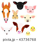 かわいい動物の子供たちの顔セット 43736768
