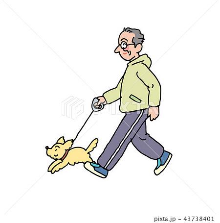 犬を連れてウオーキングするお父さんのイラスト素材 43738401 Pixta