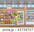 ショッピング スーパーマーケット カートのイラスト 43738757