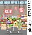 ショッピング スーパーマーケット カートのイラスト 43738759