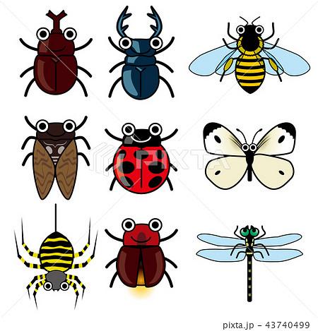 擬人化した昆虫のイラストのセットカブトムシクワガタセミinsect