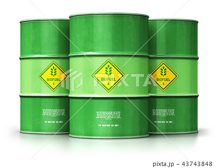 Green biofuel drums isolated on white background 43743848